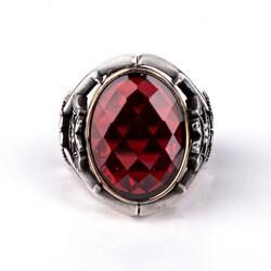 Kılıç Detaylı Kan Kırmızı Zirkon Taşlı Gümüş Yüzük - Thumbnail