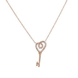 Zirkon Taşlı Anahtar Desen Kadın Gümüş Kolyesi - Thumbnail
