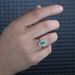 Taşlı Bayan Gümüş Yüzük - Thumbnail