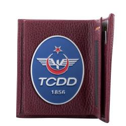 TCDD Rozetli Klasik Cüzdan Bordo - Thumbnail
