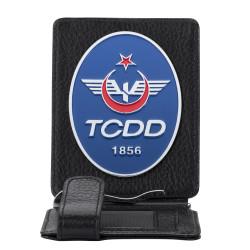 TCDD Rozetli Para Tokalı Kartlık Cüzdan Siyah - Thumbnail