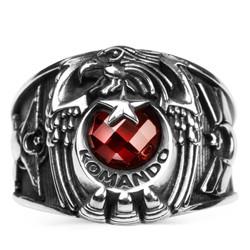 Tek Kartal Başlı Uzman Çavuş Rütbeli Komando Yüzüğü - Thumbnail