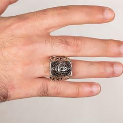 Teşkilat-ı Mahsusa Figürlü Taşsız Gümüş Erkek Yüzüğü - Thumbnail