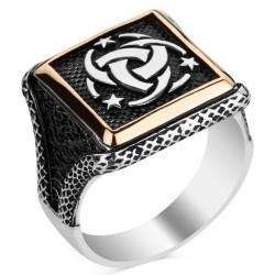 Anı Yüzük - Teşkilat-ı Mahsusa Motifli Kare Tasarım Erkek Gümüş Yüzüğü