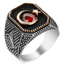 Tuğra Figürlü Ay Yıldızlı Gümüş Erkek Yüzüğü - Thumbnail