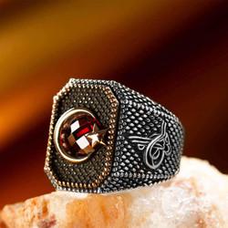 Anı Yüzük - Tuğra Figürlü Ay Yıldızlı Gümüş Erkek Yüzüğü