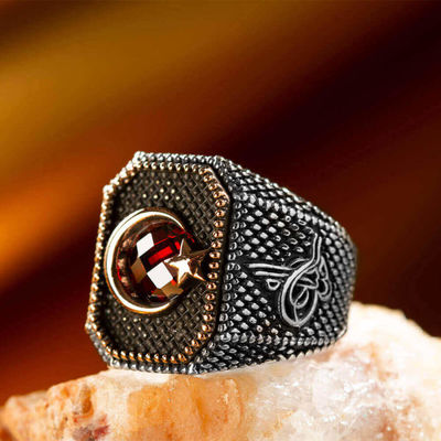 Tuğra Figürlü Ay Yıldızlı Gümüş Erkek Yüzüğü