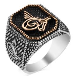 Anı Yüzük - Tuğra Figürlü Osmanlı Tuğrası Gümüş Erkek Yüzüğü