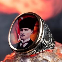 Türk Bayrağı ve Atatürk Figürlü Gümüş Yüzük - Thumbnail