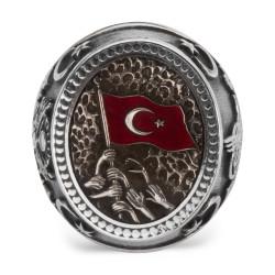 Türk Milleti Figürlü Bir Ölür Bin Diriliriz Yüzüğü - Thumbnail