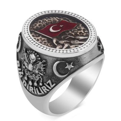 Türk Milleti Figürlü Bir Ölür Bin Diriliriz Yüzüğü