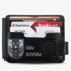 Anı Yüzük - Türk Silahlı Kuvvetleri Baskılı İsim Yazılı Para Tokalı Cüzdan Siyah
