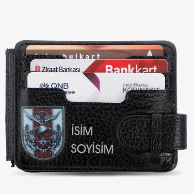 Türk Silahlı Kuvvetleri Baskılı İsim Yazılı Para Tokalı Cüzdan Siyah