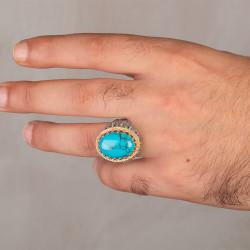 Turkuaz Firuze Taş Süslemeli Gümüş Erkek Yüzük - Thumbnail