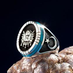 Turkuaz İşlemeli Ay Yıldızlı Gümüş Osmanlı Yüzüğü - Thumbnail