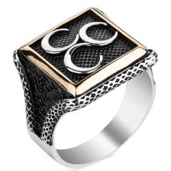 Anı Yüzük - Üç Hilalli Kare Tasarım Erkek Gümüş Yüzüğü