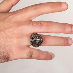 Vav Figürlü Elif Motifli Gümüş Erkek Yüzük - Thumbnail