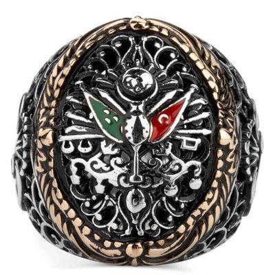 Vav Figürlü Osmanlı Arması Motifli Gümüş Erkek Yüzük