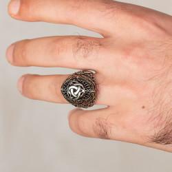 Vav Figürlü Teşkilat-ı Mahsusa Motifli Gümüş Erkek Yüzük - Thumbnail