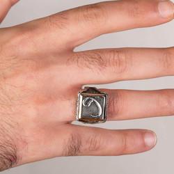 Vav Motifli Kare Tasarım Erkek Gümüş Yüzüğü - Thumbnail