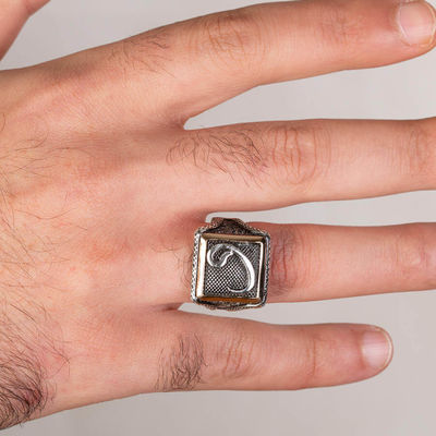 Vav Motifli Kare Tasarım Erkek Gümüş Yüzüğü
