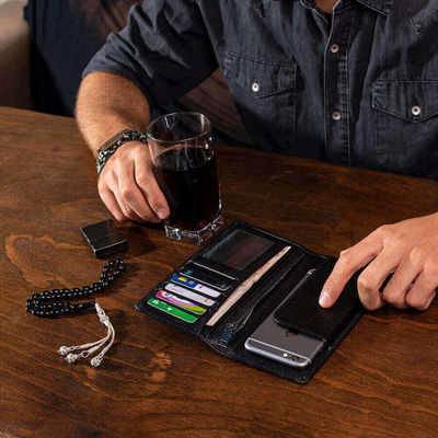 Vianel Cep Telefonu Bölmeli Büyük Deri Unisex El Cüzdanı Siyah
