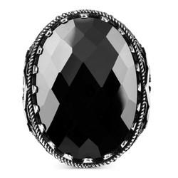 Yanları Elif-Vav Figürlü Siyah Zirkon Taşlı Gümüş Erkek Yüzük - Thumbnail