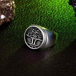 Yaşamın Kökleri Temalı Gümüş Erkek Yüzük - Thumbnail