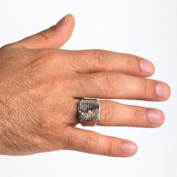 Yeni Yaşam Temalı Taşsız Gümüş Erkek Yüzük - Thumbnail