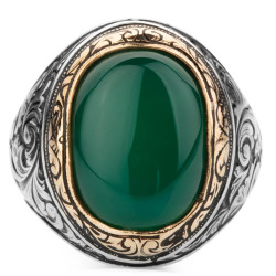 Yeşil Akik Taşlı Kalem İşleme Desenli Gümüş Erkek Yüzük - Thumbnail