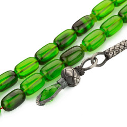Yeşil Hareli Kazazlı Sıkma Kehribar Tesbih - Thumbnail