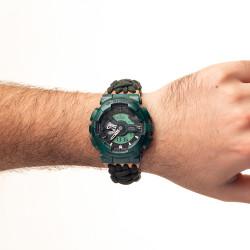 Yeşil Paracord Örgülü Analog-Dijital Casio Spor Saat - Thumbnail