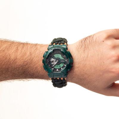 Yeşil Paracord Örgülü Analog-Dijital Casio Spor Saat