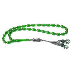 Yeşil Renk Kazaz Püskül Sıkma Kehribar Tesbih - Thumbnail