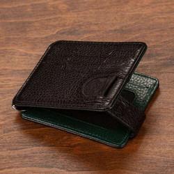 İsimli Deri Kartlık Cüzdan Çift Taraflı Yeşil-Siyah Renk - Thumbnail