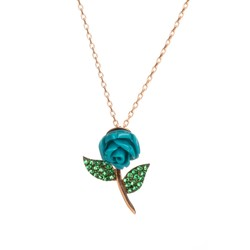 Anı Yüzük - 925 Ayar Gümüş Yeşil Taş Yapraklı Mavi Gül Kolye