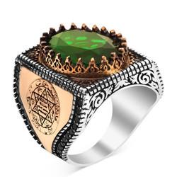 Anı Yüzük - Yeşil Zirkon Taşlı Hz Süleyman Mührü Figürlü Erkek Yüzük