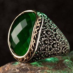 Anı Yüzük - Yeşil Zirkon Taşlı Süslemeli Gümüş Erkek Yüzük