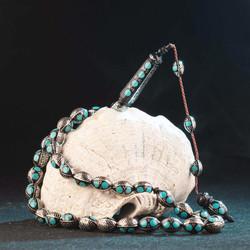 Yoğun Firuze ve Gümüş İşlemeli Arpa Kesim Kuka Tesbih - Thumbnail
