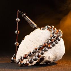 Yoğun Kehribar ve Gümüş İşlemeli Küre Kesim Kuka Tesbih - Thumbnail