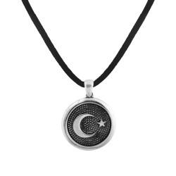 Yuvarlak Kesim Ay Yıldız Gümüş Erkek Kolye - Thumbnail