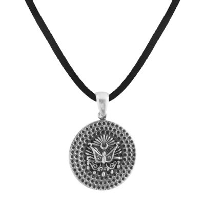 Osmanlı Armalı Desenli Gümüş Erkek Kolye