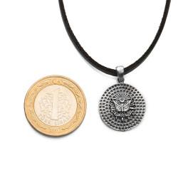 Osmanlı Armalı Desenli Gümüş Erkek Kolye - Thumbnail