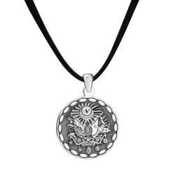 Anı Yüzük - Yuvarlak Osmanlı Armalı Gümüş Erkek Kolye