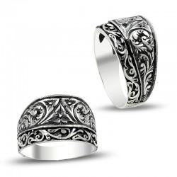 Zarif Tasarım Erzurum El İşi Kalem İşçilikli Gümüş Yüzük - Thumbnail