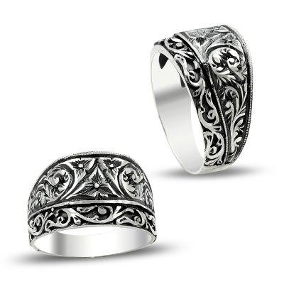 Zarif Tasarım Erzurum El İşi Kalem İşçilikli Gümüş Yüzük