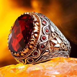 Zirkon Kırmızı Taş Süslemeli Erkek Yüzük - Thumbnail