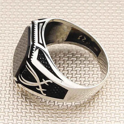 Zülfikarın İhtişamı Siyah Oniks Taşlı Gümüş Erkek Yüzük - Thumbnail
